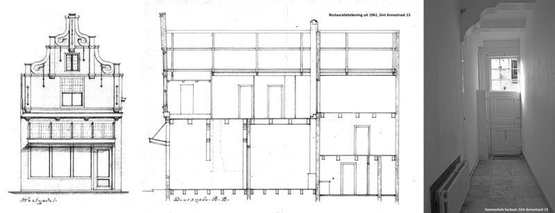 St Annastraat 13 restauratie 1961 en zwanenhals korbeel